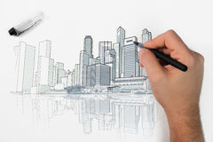 Skyline perspective drawing Stock Photo