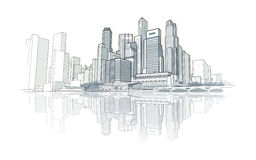 Skyline perspective drawing Stock Photography