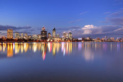Skyline of Perth, Australia across the Swan River at night Royalty Free Stock Photos