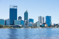 Skyline Perth Australia view across Swan River. April 2, 2017: Scenic skyline of Perth, capital of Western Australia at the Swan River, with many people spending royalty free stock images