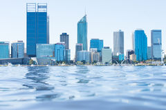 Skyline Perth Australia view across Swan River. April 2, 2017: Scenic skyline of Perth, capital of Western Australia at the Swan River regional headquarter for royalty free stock image