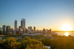 Skyline of perth at night in western australia. Perth is the capital and largest city of the Australian state of Western Australia. It is the fourth-most royalty free stock photo