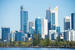 Skyline Perth Western Australia at Swan River Royalty Free Stock Photo