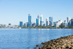 Skyline Perth Western Australia at Swan River Royalty Free Stock Images