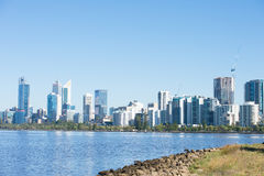 Skyline Perth Western Australia at Swan River Royalty Free Stock Photo