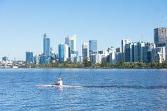Skyline Perth Western Australia at Swan River Stock Photography