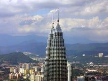 Skyline of Petronas Towers. Overlooking the pinnacles of Petronas Twin Towers stock photos