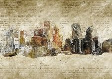 Skyline of philadelphia in modern and abstract vintage look Royalty Free Stock Photos