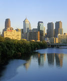 Skyline of Philadelphia from Schuylkill River, PA Royalty Free Stock Photography