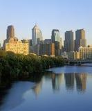 Skyline of Philadelphia from Schuylkill River, PA Royalty Free Stock Photography