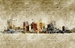 Skyline of phoenix in modern and abstract vintage look. Artprint Stock Photos