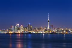 Skyline photo of the biggest city in the New Zealand, Auckland. Photo was taken after sunset across the bay. Auckland City royalty free stock images