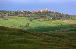 Skyline of Pienza with clouded sky, Val d'Orcia, Tuscany, Italy Royalty Free Stock Photography