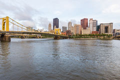 Skyline of Pittsburgh, Pennsylvania fron Allegheny Landing across the Allegheny River.  royalty free stock photography