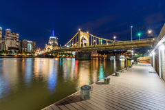 Skyline of Pittsburgh, Pennsylvania fron Allegheny Landing acros Royalty Free Stock Images