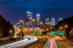 Skyline of Pittsburgh, Pennsylvania from the Highway at Night royalty free stock photography