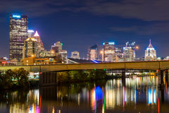 Skyline of Pittsburgh, Pennsylvania at Night on the David McCull Stock Image