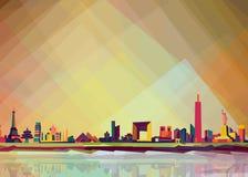 Skyline on pop art style.all araound on pop art style vector illustration