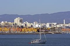 Skyline of Portimao in Portugal. Skyline of the city Portimao in Portugal stock photography