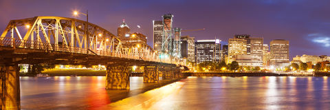 Skyline of Portland, Oregon at night Stock Images