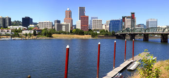 Skyline of Portland OR. & waterfront marina. Royalty Free Stock Image
