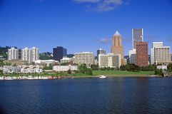 Skyline of Portland from the Willamette River, OR in morning Royalty Free Stock Image