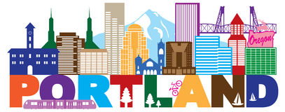 Skyline Portlands Oregon und Text-Farbe vector Illustration vektor abbildung