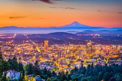 Skyline Portlands, Oregon, USA stockbilder