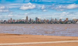 Skyline of Posadas in Argentina, photographed from the beach in Encarnacion. Skyline of Posadas in Argentina, photographed from the beach in Encarnacion / royalty free stock photos