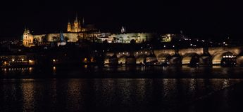 Skyline in Prague by night royalty free stock image