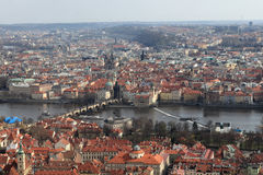 Skyline of Prague from Petrin hill Stock Photo