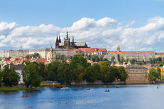 Skyline of Prague with Vitus cathedral Royalty Free Stock Photo