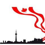 Skyline preta da silhueta de Toronto com bandeira ilustração do vetor