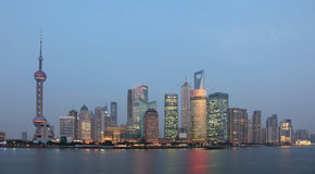 Skyline of Pudong at dusk Stock Image