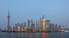 Skyline of Pudong at dusk Royalty Free Stock Photography