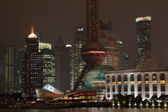 Skyline of Pudong at night Royalty Free Stock Photos