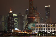 Skyline of Pudong at night Stock Photography
