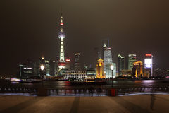 Skyline of Pudong at night Stock Photo