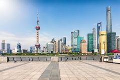 The skyline of Pudong, Shanghai, China, seen from the Bund waterfront Stock Photography