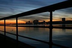 Skyline through railing Stock Images