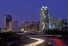 Skyline of Raleigh, NC at night Stock Photos