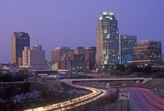 Skyline of Raleigh, NC at night Royalty Free Stock Photos