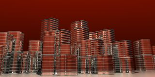 Skyline red modern 3d Stock Photography