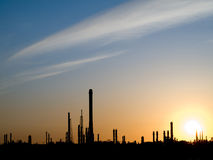 Skyline of refineries in Pernis, Rotterdam. Industrial skyline of refineries in Pernis, Rotterdam, Europe's largest harbour; sunset Stock Photography