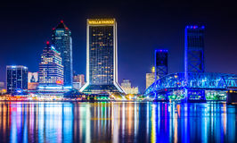 The skyline reflecting in the St. John's River at night in Jacks Royalty Free Stock Photos