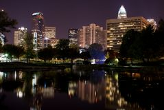 Skyline Reflection - Charlotte NC Stock Photo