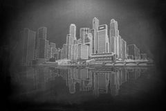 Skyline with reflection Royalty Free Stock Photo