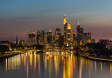 Frankfurt Skyline Reflection on Main River at Sunset Royalty Free Stock Images