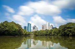 Skyline and reflections of midtown Atlanta, Georgia royalty free stock photography