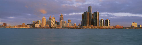 This is the skyline and Renaissance Center at sunrise. It is a view of what they call the Motor City from Windsor, Canada. It show Royalty Free Stock Image
